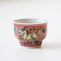 【千代久】九谷色絵天馬文猪口(その5) Kutani Enameled Cup with Heavenly Horses Design 19thー20th C