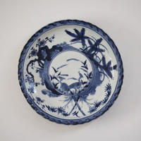 【季節のうつわ】古伊万里染付鷺松竹梅文皿 Imari Blue and White Dish with Design of Herons and Shochikubai 18th C