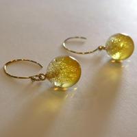 ガラスの泡玉 夕陽色のピアス /ノンホールピアス
