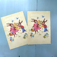 ベルギー ヴィンテージ うさぎ 『お花摘み』 ポストカード