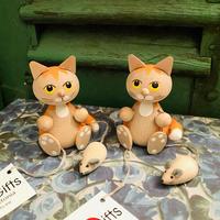 エストニア 『ネズミのお散歩する猫』 木製人形 NordicGifts ノルディカニッセ