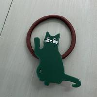 ヘアゴム グリーン 招き猫 キャット