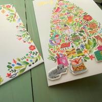 海外アーティスト クリスマス 猫 犬 小鳥 サンタ グリーティングカード