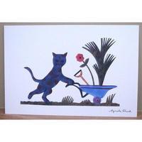 『春の準備』 切り絵作家 アグネータフロック ポストカード 猫
