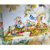 イギリス製 『お風呂』 ウサギ ポストカード