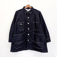 H.UNIT / Knit denim oversize work jacket ( INDIGO )
