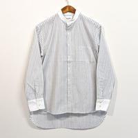 H.UNIT / Stripe bandcollar cleric long sleeves shirt