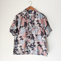 H.UNIT / Flower camo print triple pocket short sleeves shirt