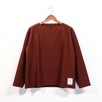 H.UNIT / Boiled wool cut off basque shirt ( RENGA )