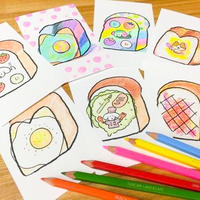 """10/13,14  寺岡奈津美さん描き下ろし""""食パンスタンプ""""を使って、食パン塗り絵のポストカードを作ろう"""