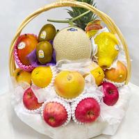 #46:豪華フルーツ盛りカゴ大・静岡マスクメロン入り!(お祝い・お供え全般)
