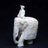 ▲本象牙象使い根付29g・提げ物/置物▲NE63▲