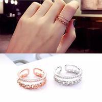リング*指輪*チェーン*2層*フリーサイズ(0127)