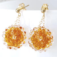 14kgf Mizore earrings Amber