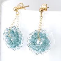 14kgf Mizore earrings Teel Green