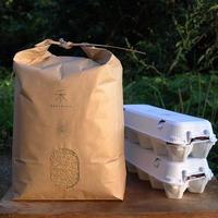 【定期便】自然栽培ササニシキ-玄米-5kg+平飼いたまご20個