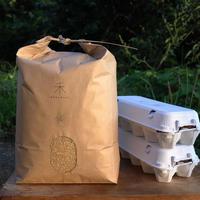 【定期便】自然栽培ササニシキ-玄米-10kg+平飼いたまご20個