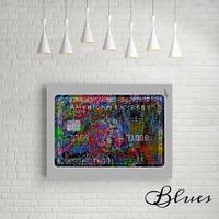 アメックス ブラックカード オマージュアート キャンバス_A2A1サイズ『Blues』