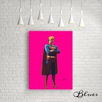マリリンモンロー スーパーマン コラージュアート 現代アート キャンバス_A2A1サイズ『Blues』