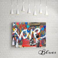 ラブウォール プロポーズ ラブ グラフティ アート キャンバス_A2A1サイズ『Blues』