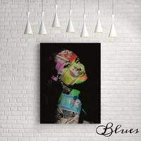 アンジェリーナジョリー ドル札 コラージュアート キャンバス_A2/A1サイズ『Blues』