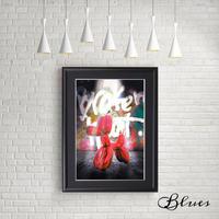 バルーンアート ドッグ レッド 現代アート_A4サイズ『Blues』
