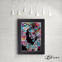 マリリンモンロー ステンシル コラージュアート_A4サイズ『Blues』