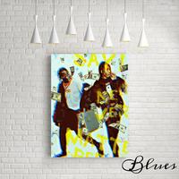 トラビス スコット エイサップ ロッキー モノグラム キャンバス_A2A1サイズ『Blues』