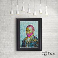 ゴッホ 自画像 コラージュアート ピンクヘアー ポップアート_A4サイズ『Blues』
