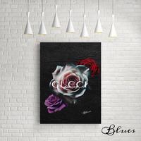 薔薇 ローズ グッチ バラ オマージュアート_P10P20サイズ『Blues』