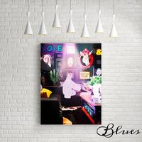 オードリーヘップバーン おしゃれ コラージュアート キャンバス _A2A1サイズ『Blues』