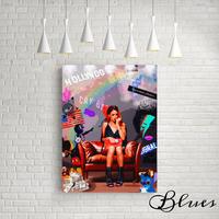 リアーナ ミッキー コラージュアート キャンバス _A2A1サイズ『Blues』