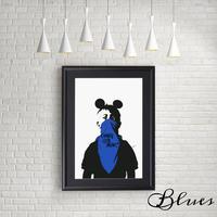 ドルク ミッキー ストリート★オマージュアート現代アート_A4サイズ『Blues』