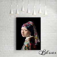 フェルメール 真珠の耳飾りの少女 タイポグラフィ アート キャンバス_A2A1サイズ『Blues』