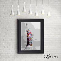 自由の女神像 ニューヨーク コラージュアート_A4サイズ『Blues』
