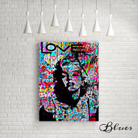 マリリンモンロー ステンシル コラージュアート キャンバス_A2A1サイズ『Blues』