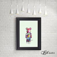 ベアベリック ポップアート クマ テディベア コラージュ _A4サイズ『Blues』
