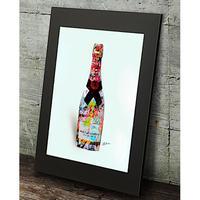 モエシャンドン シャンパン コラージュアート  高級マットパネル_A2A1サイズ『Blues』