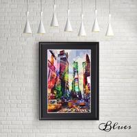 ニューヨーク マネー タイムズスクエア マンハッタン コラージュ_A4サイズ『Blues』
