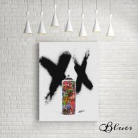 スプレー缶 グラフティ ストリートコラージュアート キャンバス_A2A1サイズ『Blues』