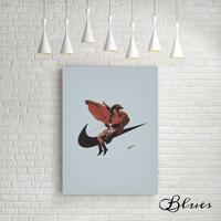 ナイキ ロゴ ナポレオン おしゃれ コラージュアート 現代アート キャンバス_A2A1サイズ『Blues』