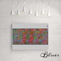 ベンジャミンフランクリン 100$ コラージュアート キャンバス_A2A1サイズ『Blues』