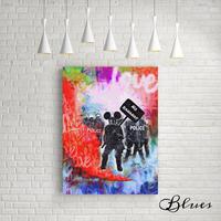 バナナ 世界平和 ラブ BANANA コラージュ キャンバス_A2A1サイズ『Blues』
