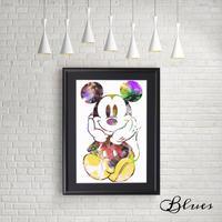 ミッキーマウス ディズニー コラージュ アート_A4サイズ『Blues』