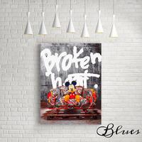 ミッキーマウス タイポグラフィ★オマージュアート キャンバス_A2A1サイズ『Blues』
