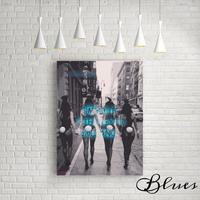 バニーガール モノクロ おしゃれアートキャンバス_A2/A1サイズ『Blues』