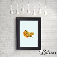 バナナ banana コラージュアート 現代アート_A4サイズ『Blues』