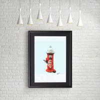タバスコ 消火栓 リンゴ 現代アート ポップアート_A4サイズ『Blues』