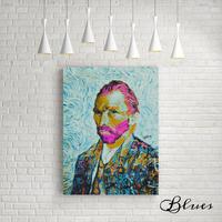 ゴッホ 自画像 コラージュアート ピンクヘアー ポップアート キャンバス_A2A1サイズ『Blues』