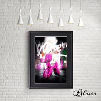 バルーンアート ドッグ ピンク 現代アート_A4サイズ『Blues』